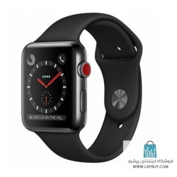 Apple Watch Series 3 Cellular 42mm Space Black Stainless Steel Case with Black Sport Band ساعت هوشمند اپل واچ